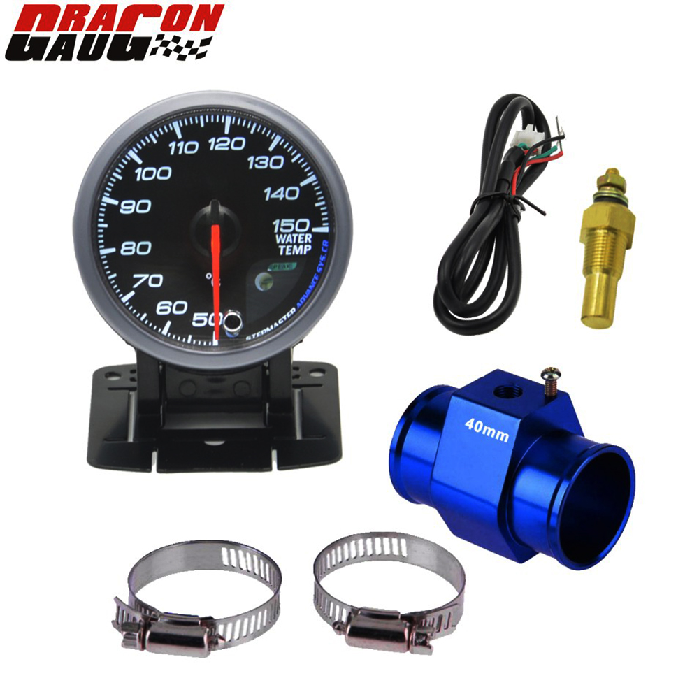 Dragon Gauge 60mm stegmotor Bil Vatten Temp Gauge Temperaturmätare Varningsfunktion 40-140 Celsius Gratis frakt