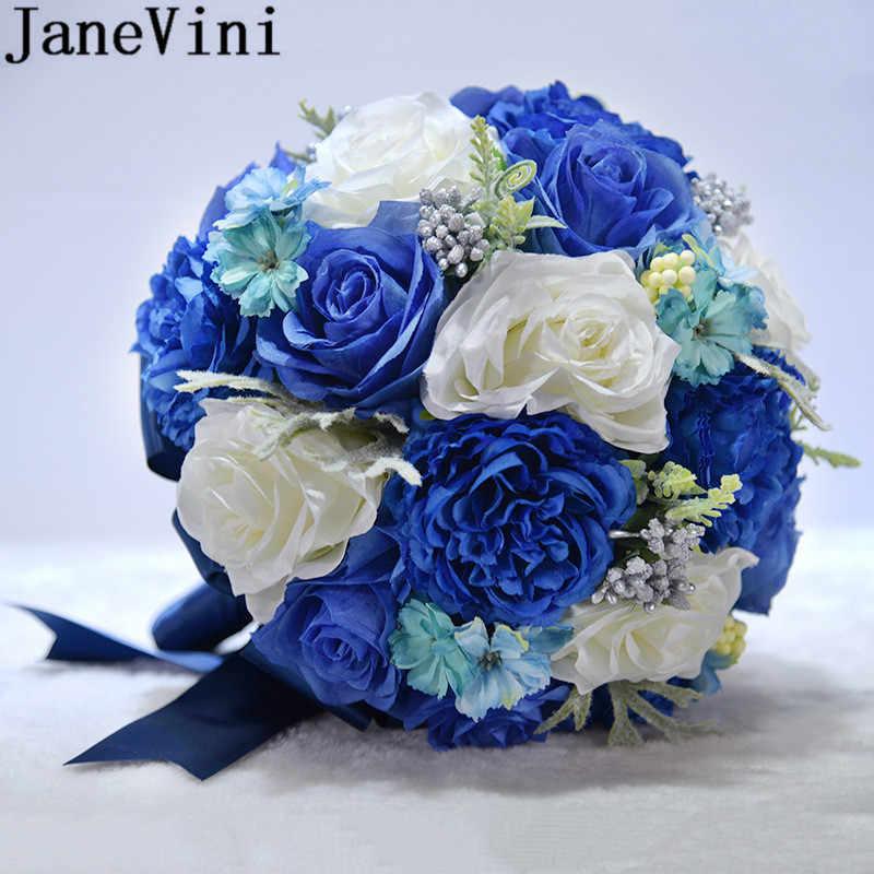 JaneVini ROYAL BLUE Peony Wedding Bouquet เจ้าสาว Rose ดอกไม้ผ้าไหมเทียม Bridesmaid Bouquets Boutonniere