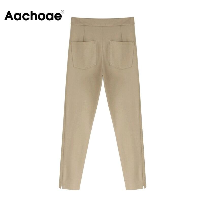 Aachoae Women Solid Elegant Pants Leggings Pleated Side Leg Split Pencil Pants Lady Zipper Fly Casual Skinny Trousers Pantalon 4
