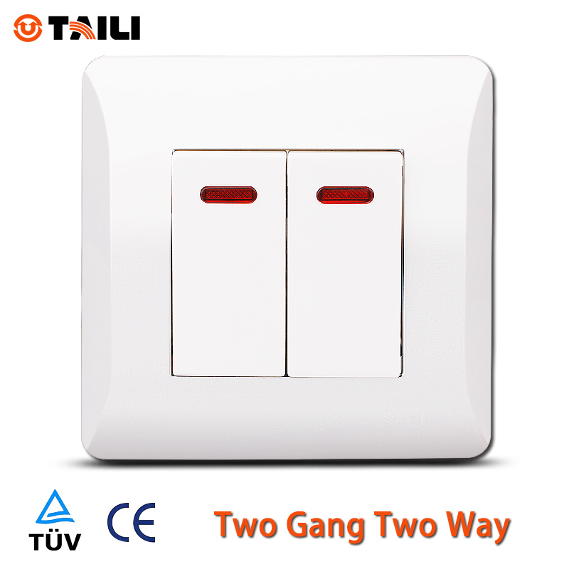 TAILI EU standard two gang two way wall switch light switch TL0613