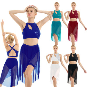 Image 2 - TiaoBug Shiny Sequins Asymmetrical Crop Tops with High Low Mesh Leotard Skirt Women Gymnastics Ballet Lyrical Dance Costumes Set