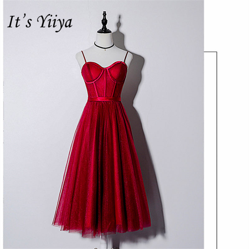 It's YiiYa Cocktail Dress V-Neck Sleeveless Ball Gown Women Party Dresses Spaghetti Strap Knee-Length Robe Cocktail Gowns E848