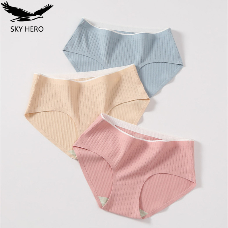 3pcs/lot Cotton Bow Panties Women Underwear Striped Briefs Breathable For Girls Panty Lady Mid-Waist Seamless Underpants