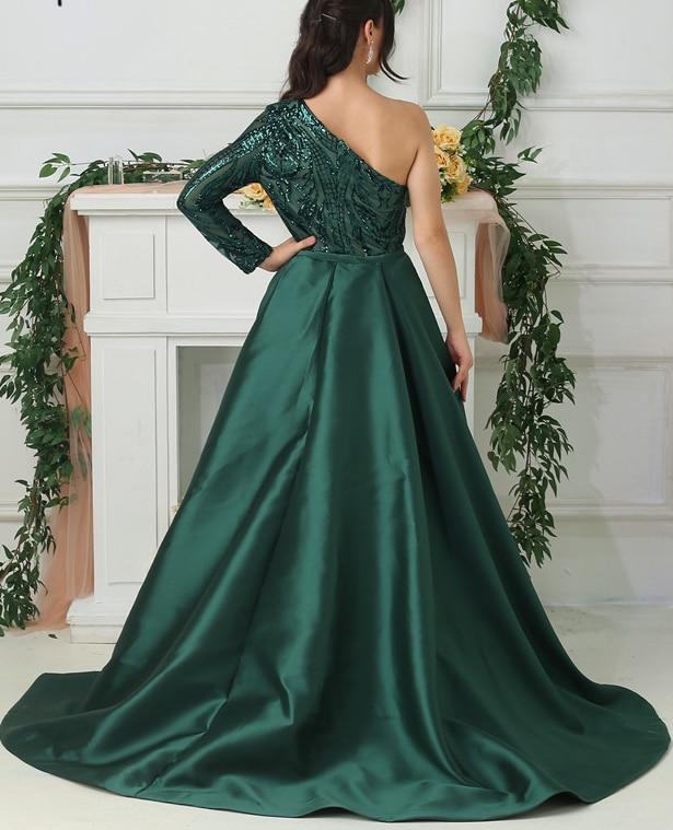 Green Een Schouder Lange Mouwen Lovertjes Sexy Luxe Mode Avondjurken met Trein Avondjurken - 2