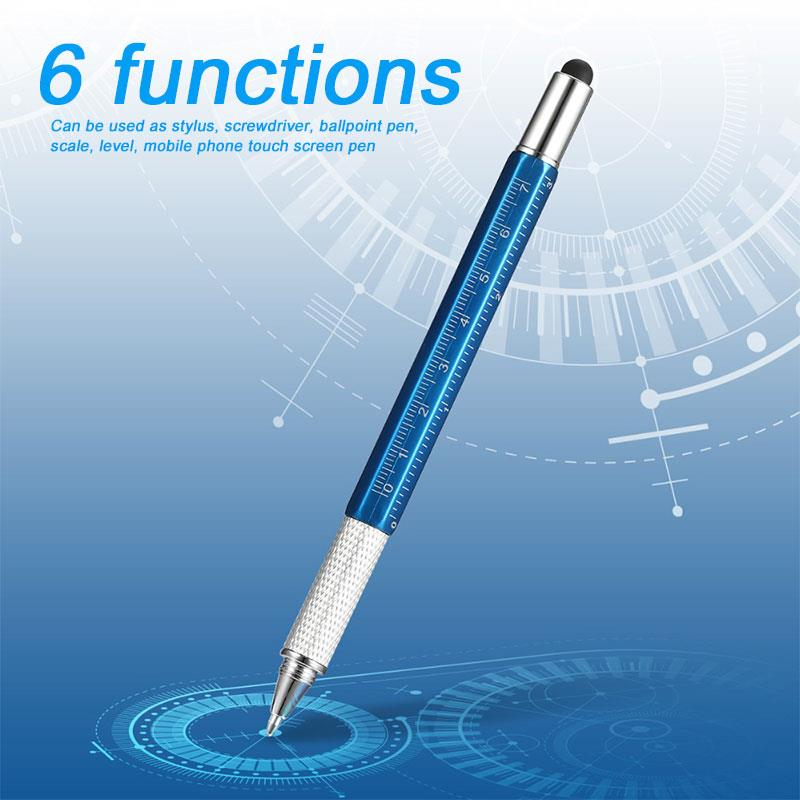 Stylus Pen Capacitive For Ipad PC Fashion Smartphone 6 In 1 Level Multifunction Portable Silver Pencil Chic Scale Screwdriver