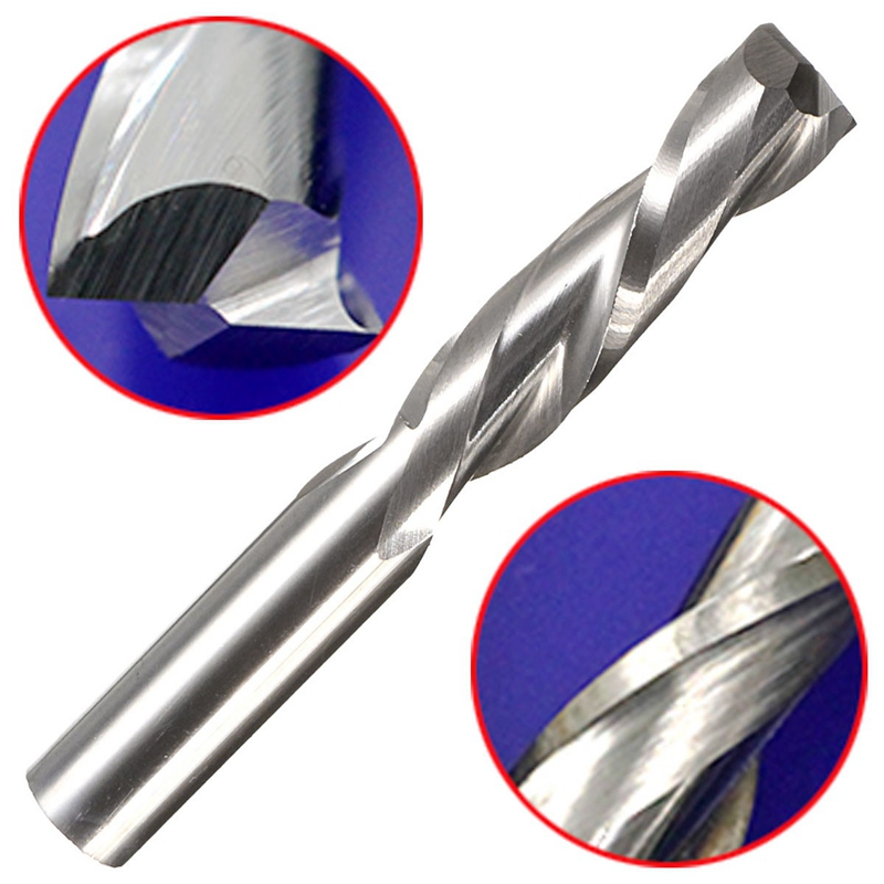 1pcs Double Flute Spiral Cutter CNC Router Bits Wood Acrylic Drill Carbide 2 Flutes 6*6*22*44mm Milling Cutter Bit