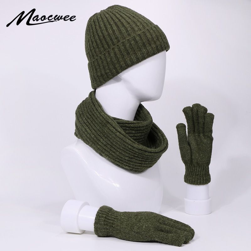 Three Piece Hat Scarf And Glove Suit For Men And Women Suitable Winter And Autumn  Knitted Striped Hat With Lining To Keep Warm