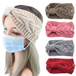 Solid Color Crochet Bow Knitted Headband With Button Twist Knotted Ear Warmer Women Mask Holder Turban Hairband Hair Accessories