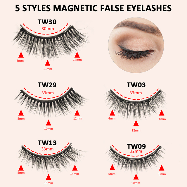 5 Pair Magnetic Eyelashes With Magnet Liquid Eyeliner Tweezer Set Waterproof Long Lasting Natural Mink False Eyelashes Extension 3