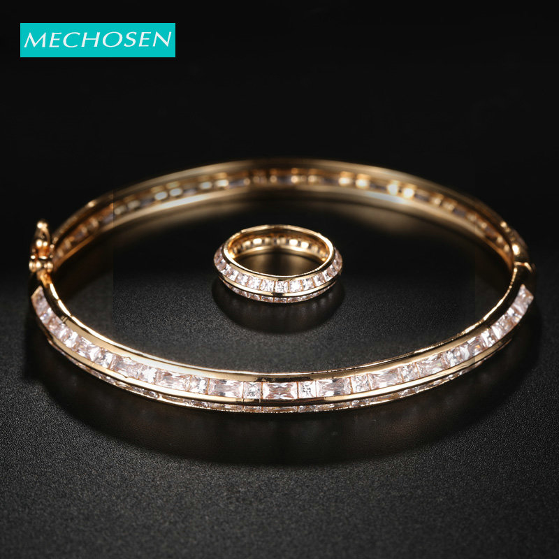 MECHOSEN Luxury Brand Beautiful Zircon Round Ring Bangle Gold Jewelry Set For Lady Wedding Party Exquisite Accessories Gift 2019