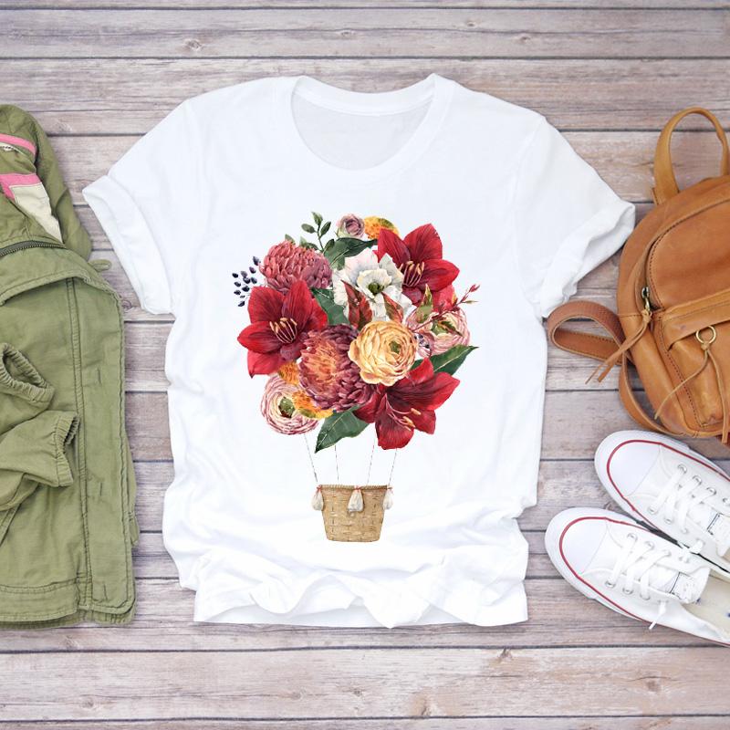 Women 2020 Summer Short Sleeve Floral Flower Fashion Lady T shirts Top T Shirt Ladies Womens Graphic Female Tee T Shirt
