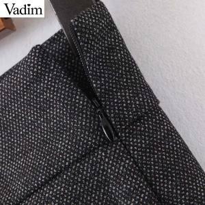 Image 5 - Vadim women elegant solid wide leg pants side zipper European style female office wear casual trousers pantalones mujer KB227