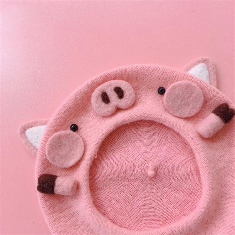 Kawaii Pink Piggy Beret
