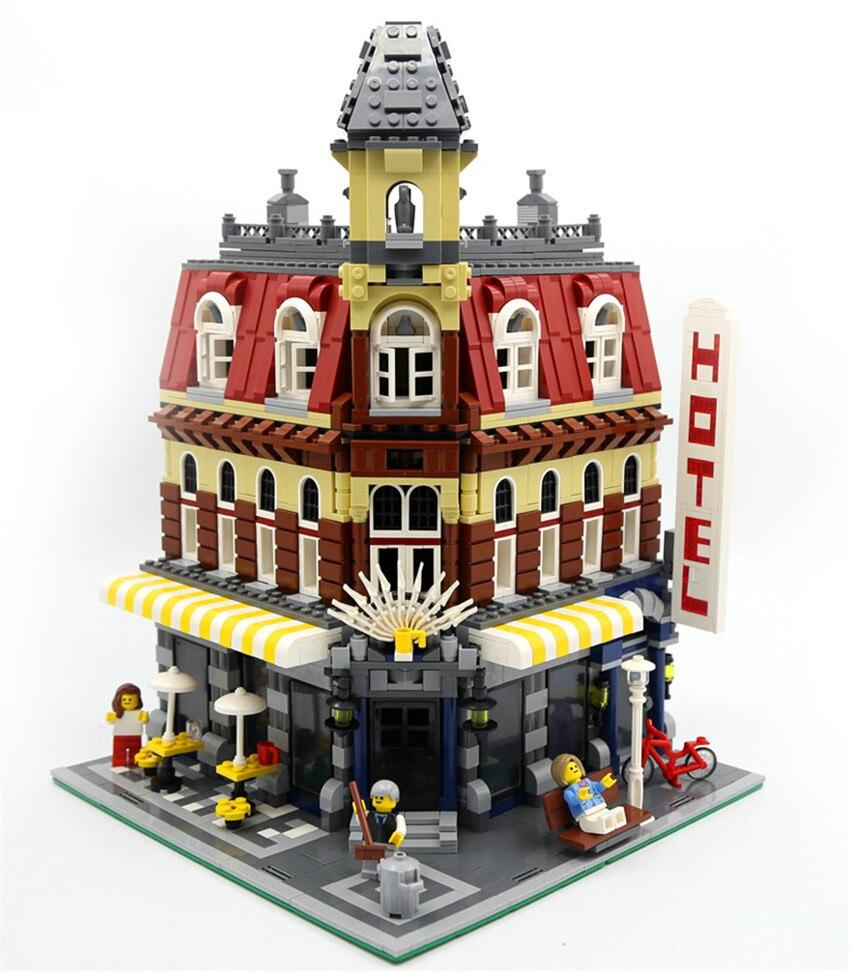 Em estoque 15002 2133 peças clone cidade rua fazer café modelo de canto kits de construção blocos tijolo brinquedo crianças presente 10182