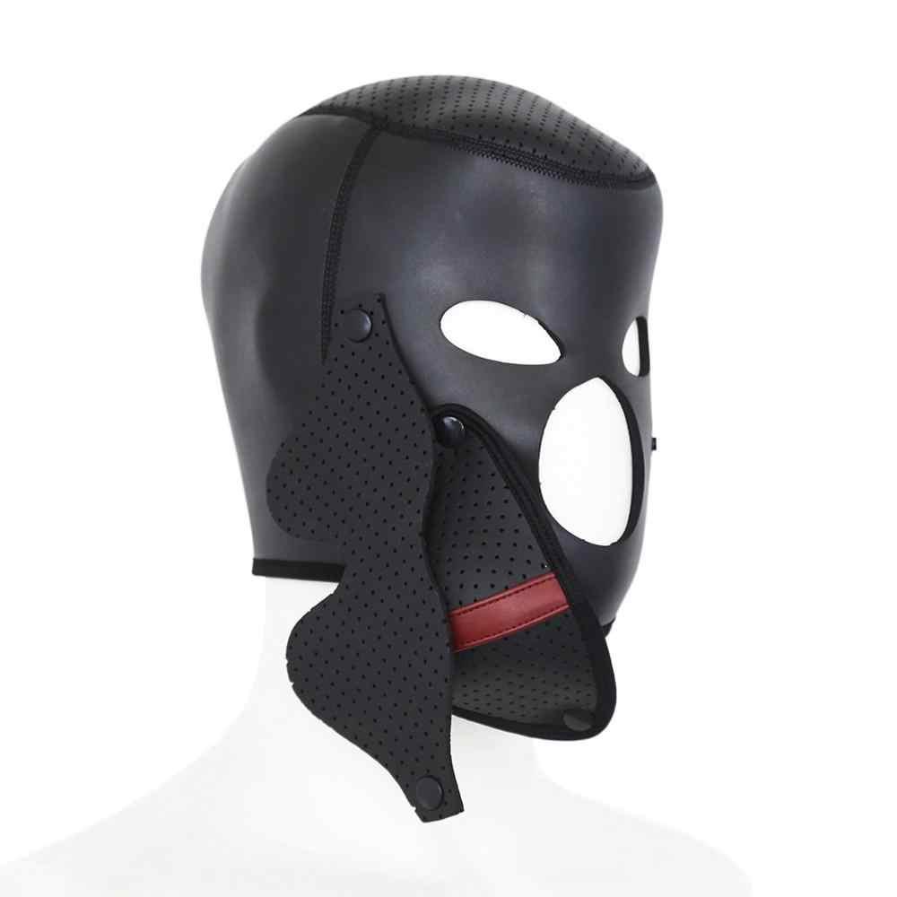 Neoprenu odpinany maska do oczu pokrowiec na główkę bdsm maska fetysz pełna zamknięta głowy Bondage niewolnik Sex zabawki dla kobiety pary