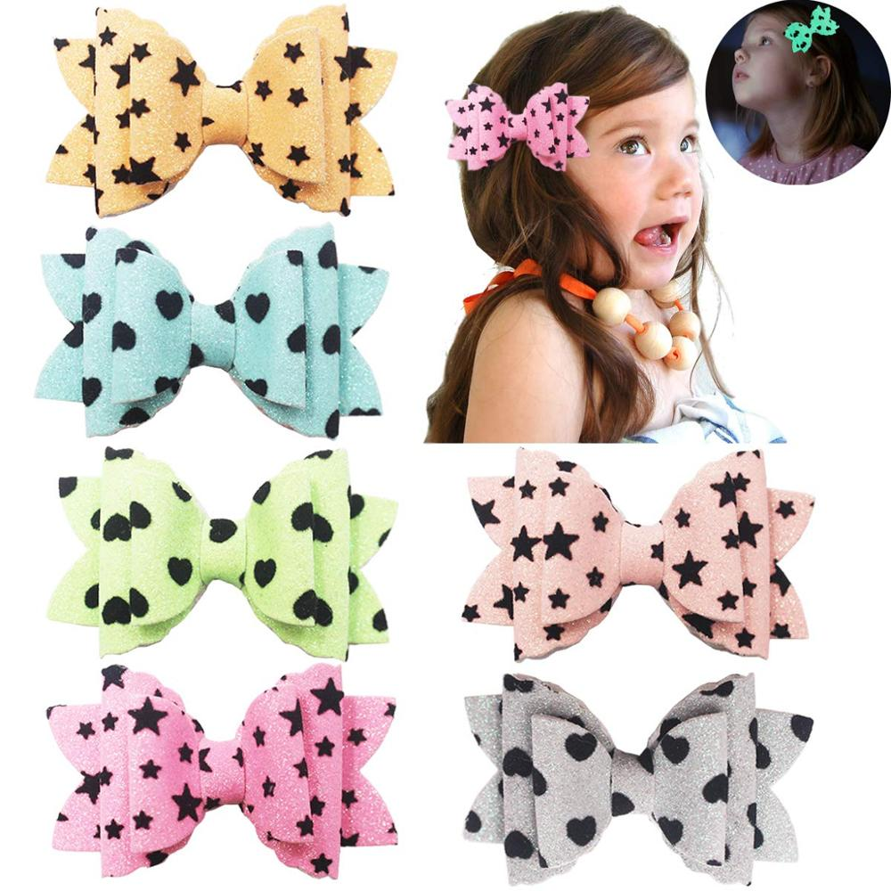 Sparkly Glitter Sequins Hair Bows Alligator Clips For Baby Girls Toddlers Teens