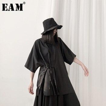 [EAM] Women Black Bandage Big Size Blouse New Lapel Three-quarter Sleeve Loose Fit Shirt Fashion Spring Autumn 2020 19A-a617