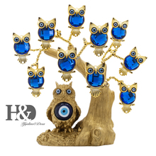 H&D Blue Evil Eye Tree for Protection Gold Owl Shape Tree Fengshui Ornament Home Decor Good Luck Gift Showpiece Xmas Gift Resin