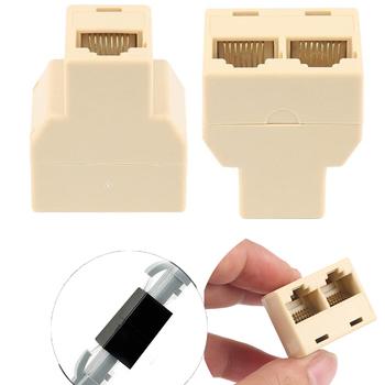 2021 rozdzielacz RJ45 Adapter sieci Ethernet przewód Lan 1 do 2 sposobów rozdzielacz Extender do połączenia internetowego łącznik kontakt wtyczka modułowa tanie i dobre opinie CN (pochodzenie) Adapter kabla NONE Dostępny w magazynie RJ45 CAT5 6 Tee support Connector 3 x RJ45 female Color Beige Black
