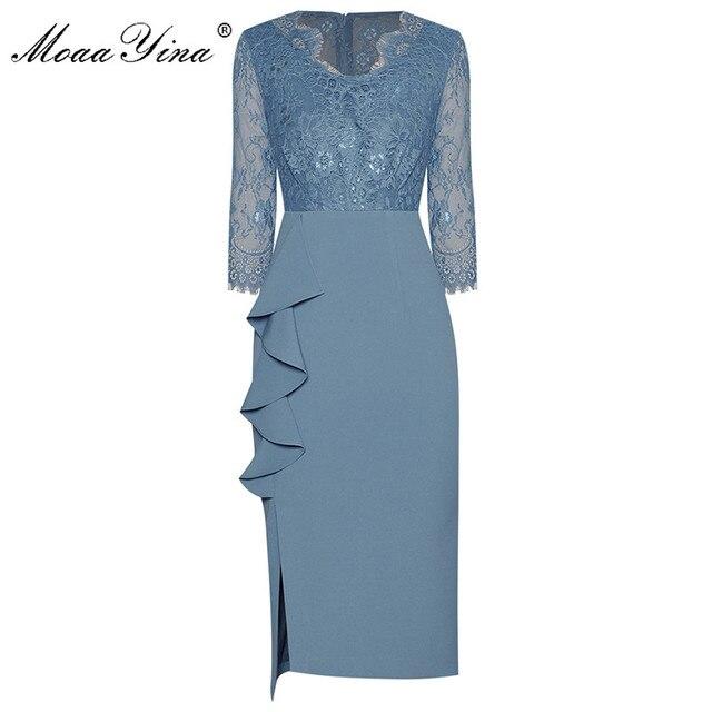 MoaaYina Fashion Designer dress Spring Women's Dress V-neck Lace Patchwork Package hip Ruffles Split Dresses 1