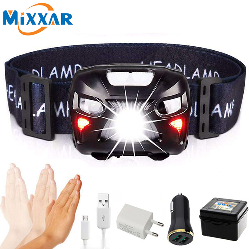 ZK20 Mini Rechargeable LED Headlamp Body Motion Sensor Headlight Dropshipping Camping Flashlight Head Light Torch Lamp