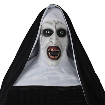 The Nun Cosplay Valak Scary Horror Latex Mask Head scarf Full Face Helmet Halloween Party Costume Props frankenstein horror mask cosplay latex masks helmet halloween party costume props