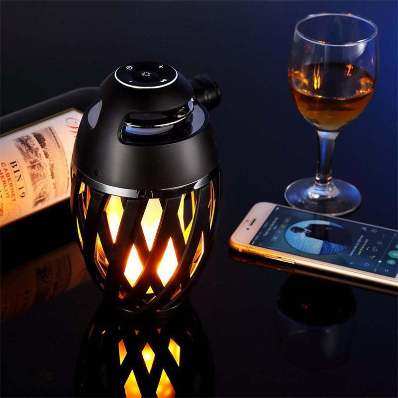 Novelty USB Charge Flame LED Lamps Party Atmosphere Wireless Bluetooth Speaker Nighit Light Home Decorations