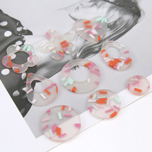 6 pcs new design hot-sales summer sweet ice cream flowers heart-shaped round earrings for women material diy jewelry accessories