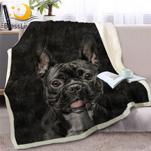 BlessLiving French Bulldog Sherpa Blanket on Bed Christmas Gift 3D Dog Animal Fur Throw Blanket Adult Brown Gray Bedding manta(China)
