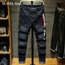 Мужские джинсы-шаровары с принтом, размеры 7XL, 8XL, 9XL, 10XL, весна-осень