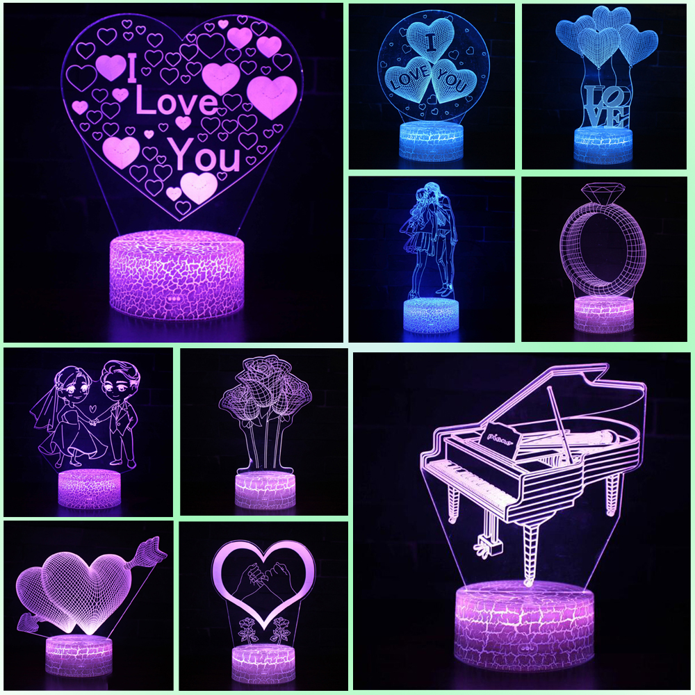 USB  Battery Acrylic Night Light  Birthday  Valentine's Day  3D  Desk Lamp  Seven Colors  Propose  Touch  Originality  Gift Lamp
