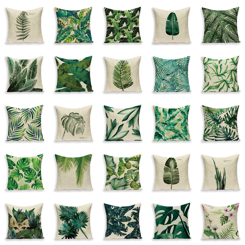 US $8.8 88% OFFPlant Throw Pillows Cover Tropic Tree Green Cover for  Cushions Flower Decorative Pillows for Sofa Decoration Pillow Covers