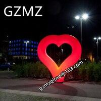Valentine's Day ground decoration Inflatable heart, 2.4m high Heart inflatable valentines heart light up Column toy
