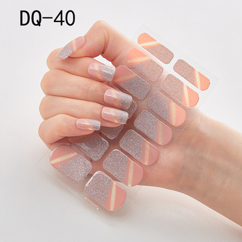 14pcs/sheet Glitter Gradient Color Nail Stickers Nail Wraps Full Cover Nail Polish Sticker DIY Self-Adhesive Nail Art Decoration 79