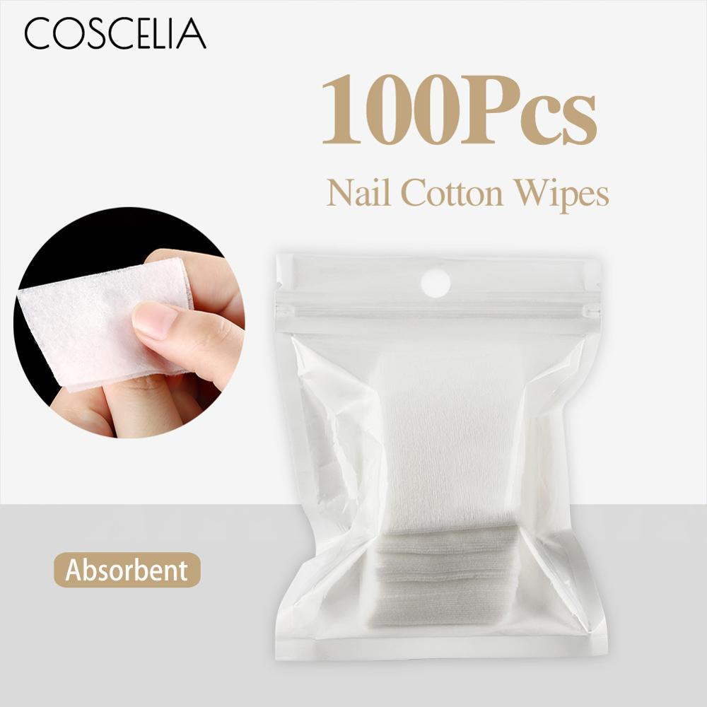 100Pcs Gel Polish Remover Lint-Free Wipes Napkins For Manicure Cleanser Nail Art Soak Off Cleaner Nail UV Gel Nail Degreaser