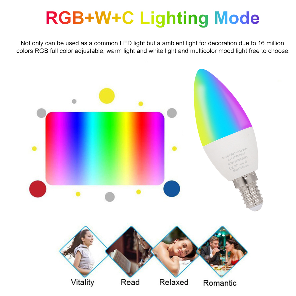 Tuya E14 Smart WiFi Light Bulb 5W RGB+W+C Dimmable LED Lamp 110 240V AC Timer Voice Control Magic Bulb for Home Outdoor Decor