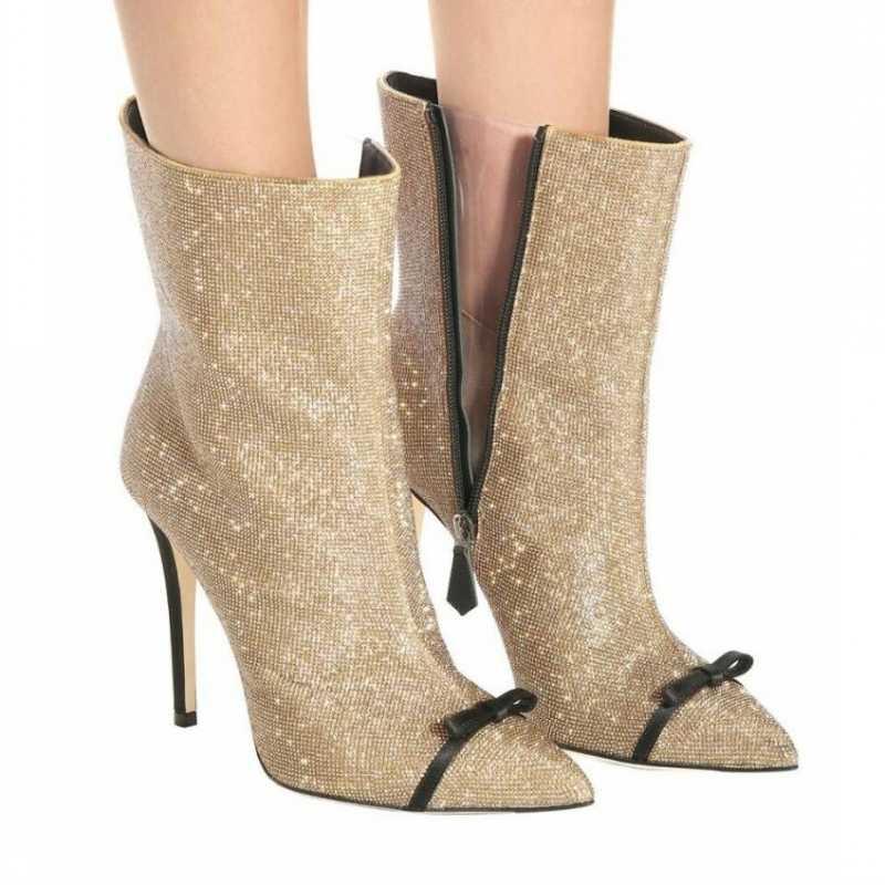 Pist sivri burun Sequins Stiletto yarım çizmeler kadınlar kış kristal yay kısa peluş sıcak yüksek topuk çizmeler artı boyutu 43 ayakkabı