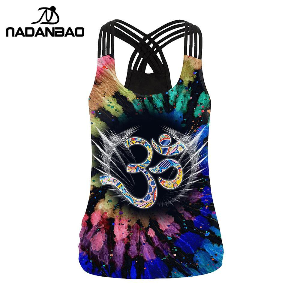 NADANBAO The OM Symbol Mandala Women Vest   Tops   3D Printing Aztec Round Ombre Flower Sling   Tops   Fashion Sexy Backless   Tank     Top