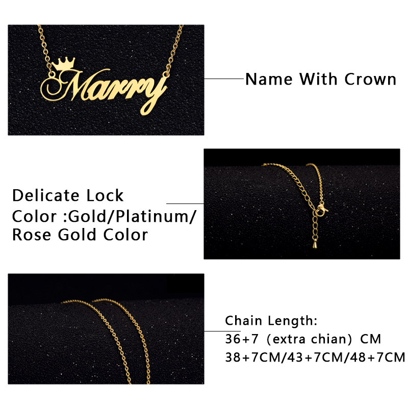Stainless Steel Charm Personalized Name Crown Necklace Women Men Collares De Moda 2019 Custom Jewelry BFF Choker Bijoux Femme