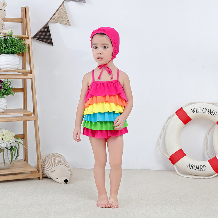 Girl'S One-piece Swimming Suit Rainbow Sling Children Hot Springs Bathing Suit