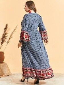 Image 3 - Feminino étnico impressão alargamento manga vestido muçulmano cintura alta botão bainha grande ramadã árabe vestido vestidos plus size m 3xl 4xl
