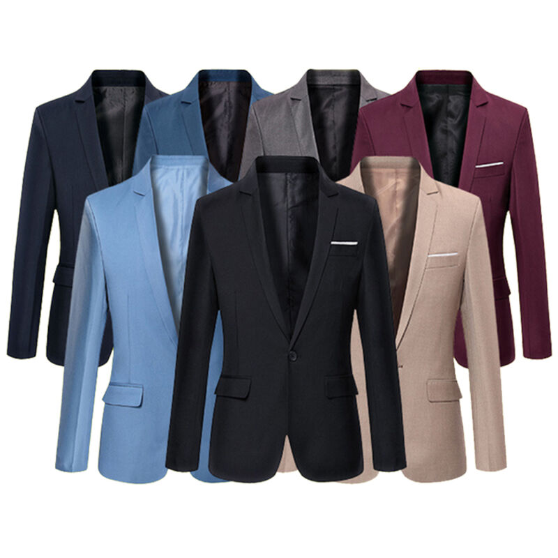 Goocheer New 4 Colors Plus Size Suit Men's Blazers Formal Men's Slim Fit One Button Suit Blazer Business Blazers Men Office Suit