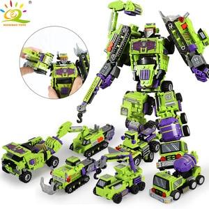 Image 1 - 709 قطعة 6in1 التحول روبوت بنة مدينة الهندسة حفارة سيارة شاحنة منشئ الطوب لعبة للأطفال