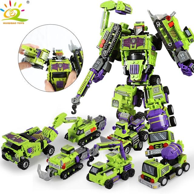 709 قطعة 6in1 التحول روبوت بنة مدينة الهندسة حفارة سيارة شاحنة منشئ الطوب لعبة للأطفال