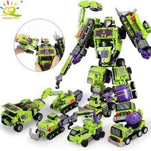 709 pçs 6 em 1 transformação robô bloco de construção, cidade, engenharia, escavadeira, carro, fabricante, tijolos, brinquedo para crianças