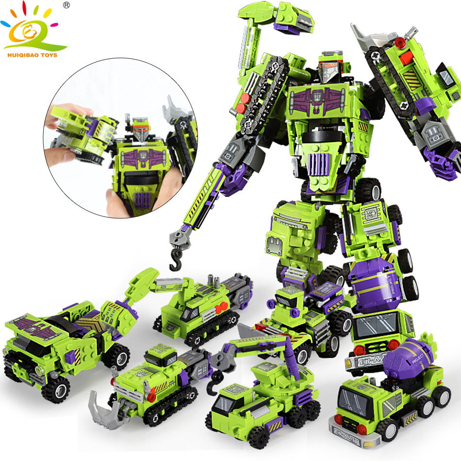 709pcs 6in1 Transformation Robot Building Block City Engineering Excavator car truck constructor Bricks toy For Children(China)