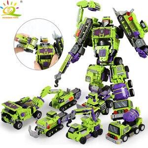 Image 1 - 709pcs 6in1 Transformation Robot Building Block City Engineering Excavator car truck constructor Bricks toy For Children