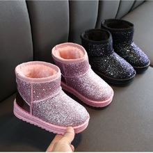 Girls Boots Winter Kids Baby Shoes Children's Boys Warm Bling Waterproof Plush Snow Boots Girl Bootie Child Shoes(China)
