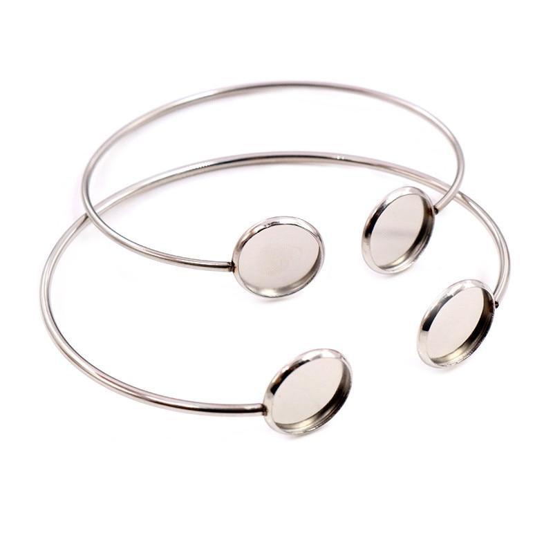 2pcs/Lot Fit 12mm Round Glass Cabochon 316 Stainless Steel Super Flexible Bangle Base Bracelet Blank Tray Bezel Setting