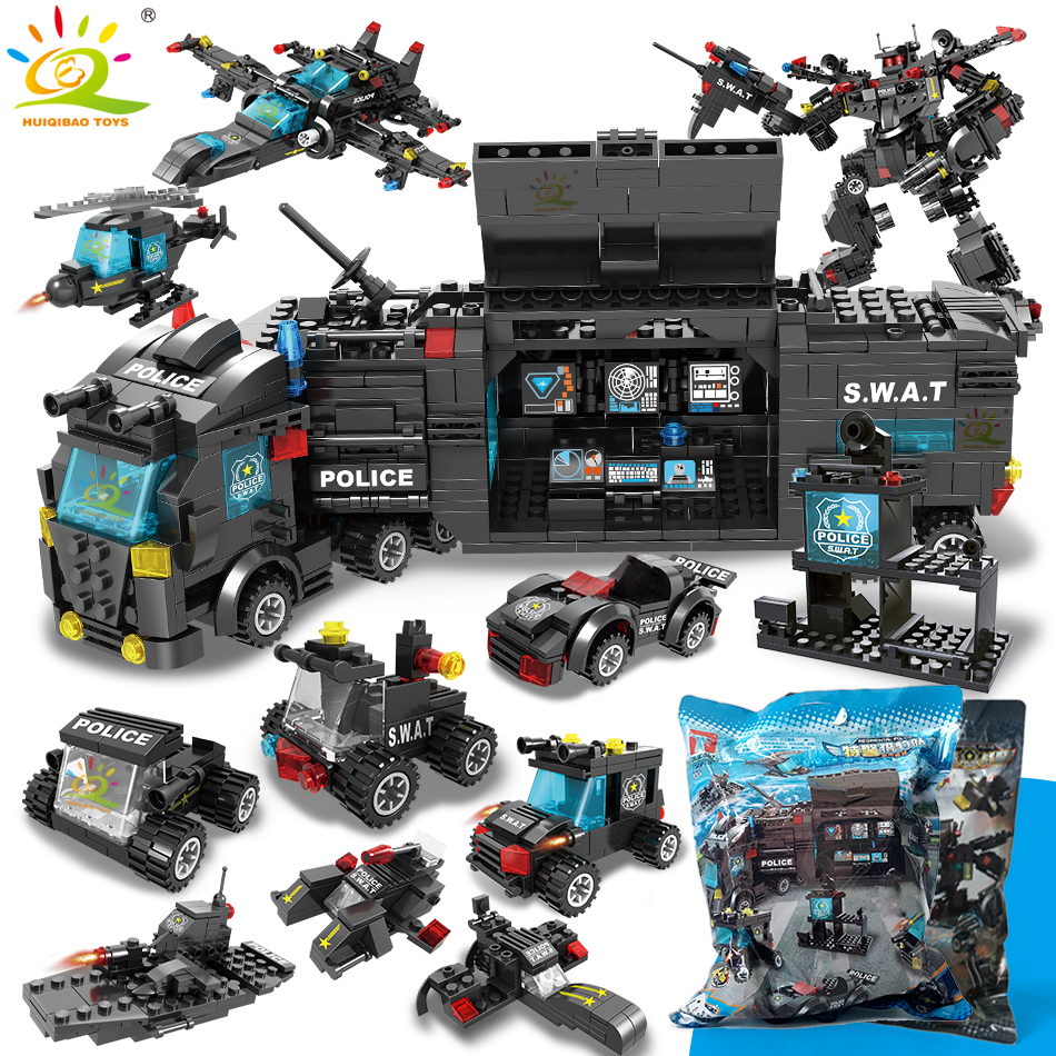 SWAT Police Station Truck Model Building Blocks Legoing City Machine Helicopter Car Figures Bricks Educational Toys For Children